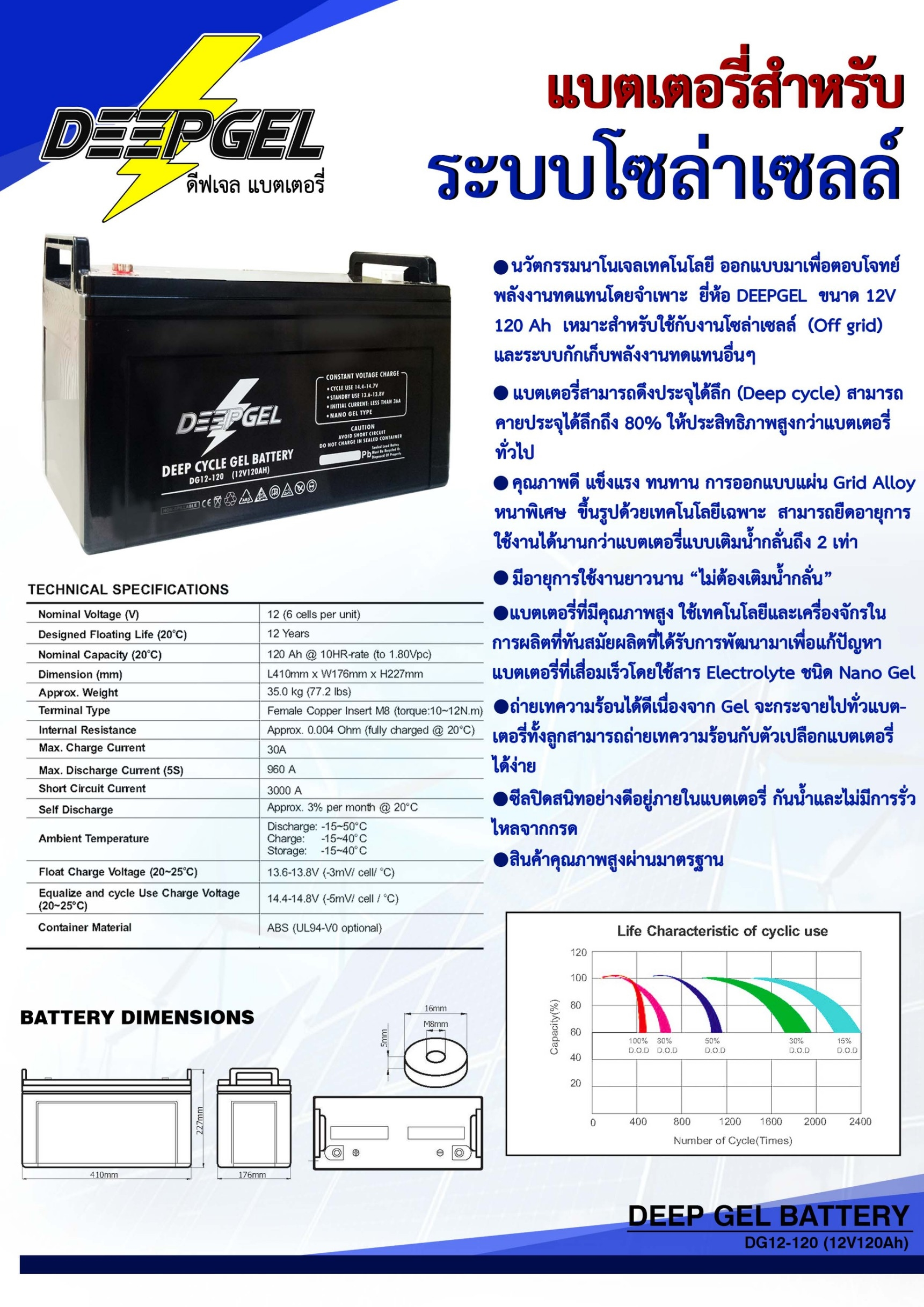 Battery Deep sycle 12v 120Ah